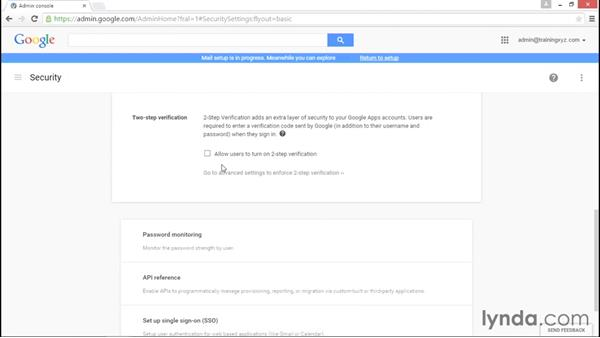 Determining advanced security options: Administering Google Apps