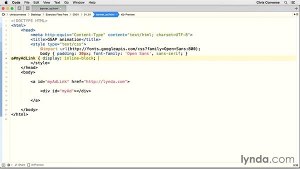 Creating the main ad link and container: Creating an HTML5 Banner Ad with GreenSock (GSAP)