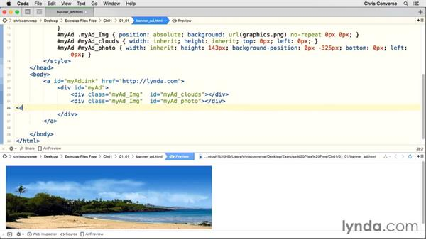 Adding the photo and headlines: Creating an HTML5 Banner Ad with GreenSock (GSAP)