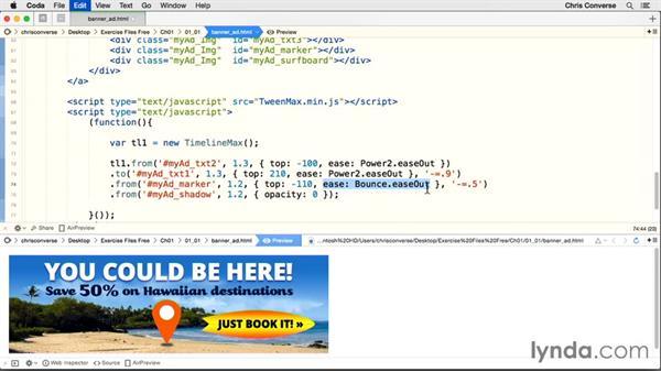 Animating the marker and shadow: Creating an HTML5 Banner Ad with GreenSock (GSAP)