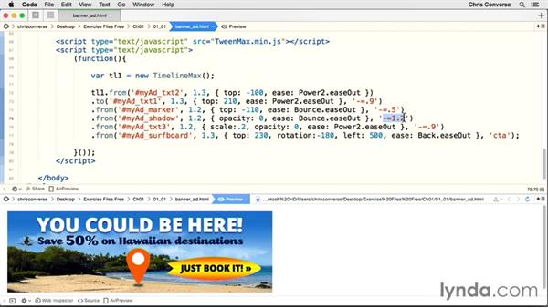Animating the surfboard: Creating an HTML5 Banner Ad with GreenSock (GSAP)