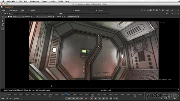 Isolating the doors: NUKE Compositing: Sci-Fi Force Field