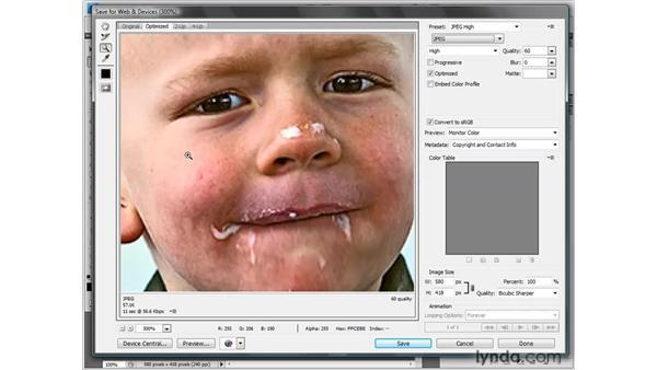 Saving a JPEG photograph: Photoshop CS4 One-on-One: Fundamentals