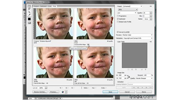 Comparing alternative compression settings: Photoshop CS4 One-on-One: Fundamentals