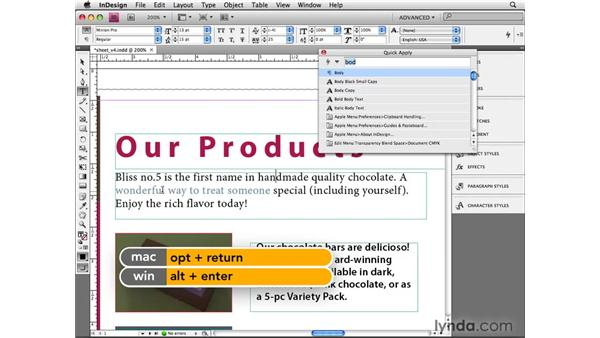 Using Quick Apply shortcuts: InDesign CS4 Beyond the Basics