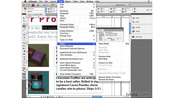 Creating notes: InDesign CS4 Beyond the Basics