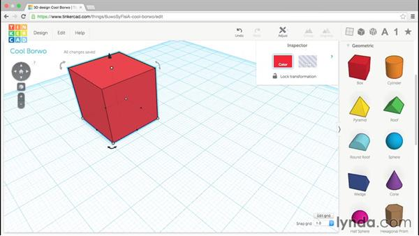 Adding and moving 3D shapes: Up and Running with Tinkercad