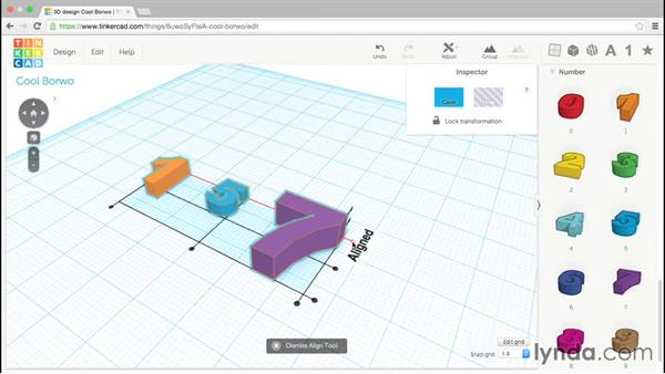 Aligning shapes: Up and Running with Tinkercad