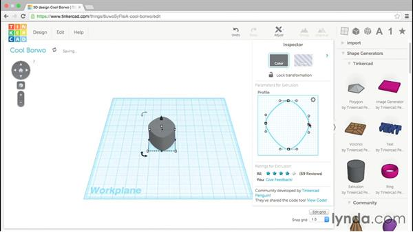 The extrusion generator: Up and Running with Tinkercad