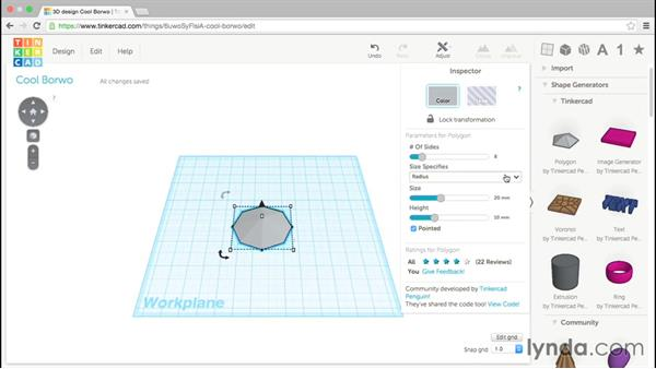 The polygon generator: Up and Running with Tinkercad
