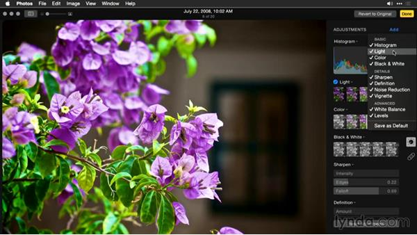Adding adjustment tools: Enhancing Images with Photos for OS X