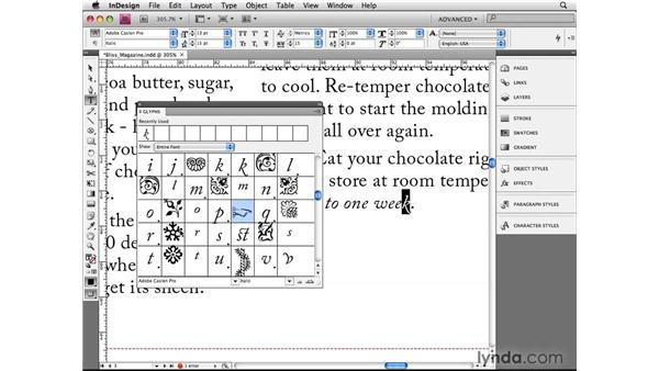 Managing glyphs: InDesign CS4 Beyond the Basics