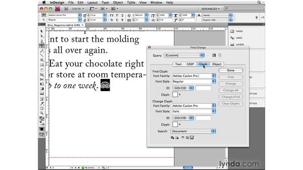 Finding and changing glyphs: InDesign CS4 Beyond the Basics
