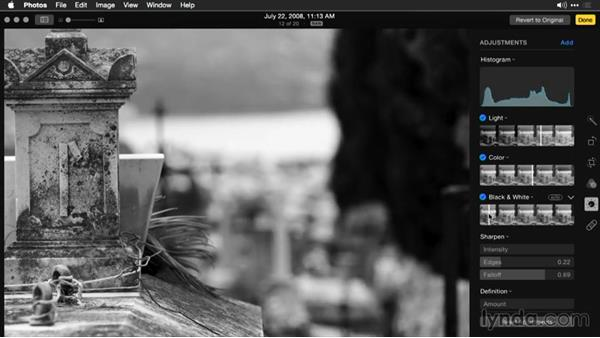 Adding the black-and-white effect: Enhancing Images with Photos for OS X