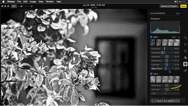 Controlling the conversion with light and color preprocessing: Enhancing Images with Photos for OS X