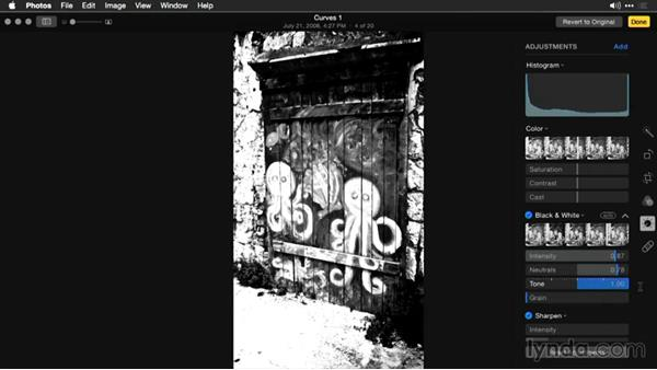 Refining the black-and-white adjustment: Enhancing Images with Photos for OS X