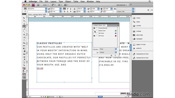 Setting conditional text: InDesign CS4 Beyond the Basics