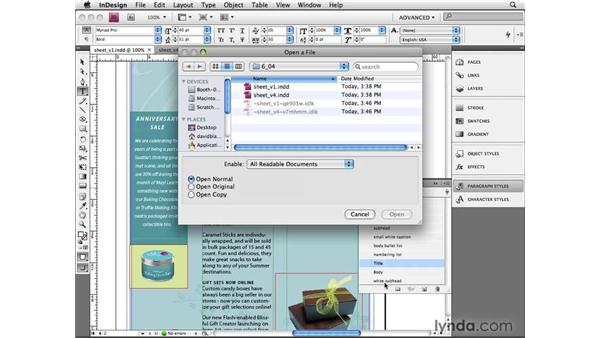 Setting load styles: InDesign CS4 Beyond the Basics