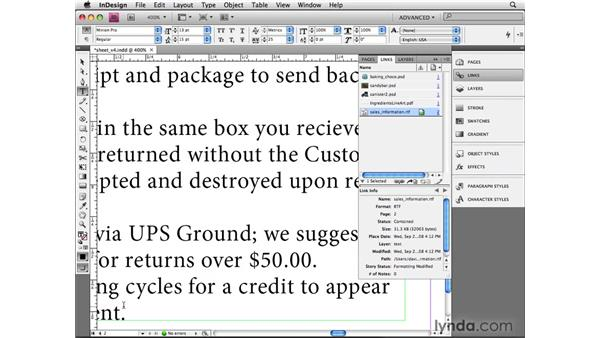 Linking to text files on disk: InDesign CS4 Beyond the Basics