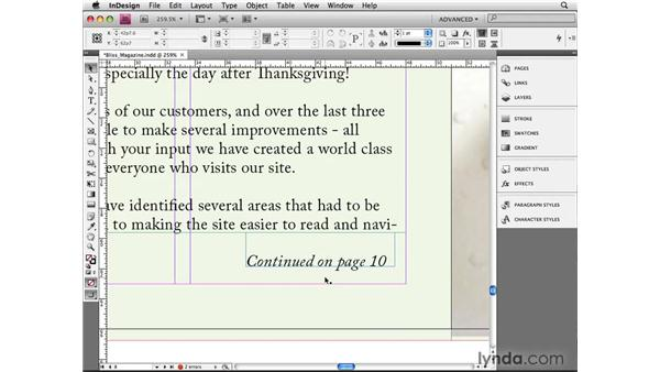 "Creating ""Continued On..."" numbers: InDesign CS4 Beyond the Basics"