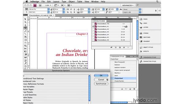 Synchronizing documents in a book: InDesign CS4 Beyond the Basics