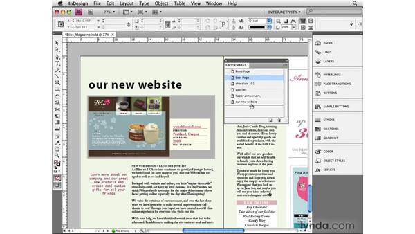 Setting bookmarks: InDesign CS4 Beyond the Basics