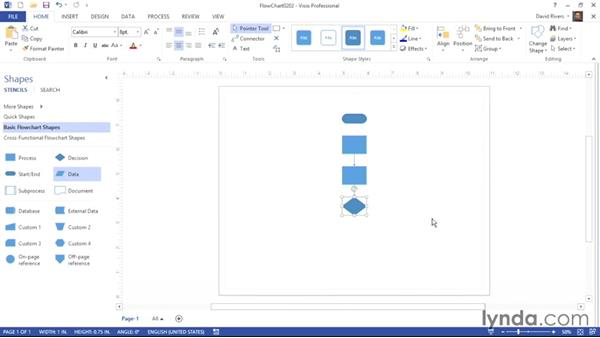 Arranging the top four SmartShapes on a stencil: Visio 2013 Essential Training