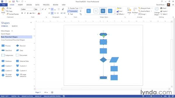Connecting shapes manually: Visio 2013 Essential Training