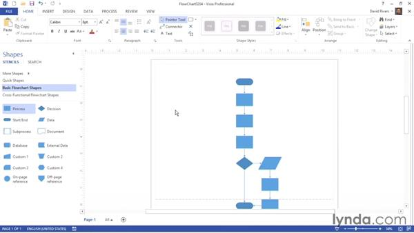 Inserting and deleting connected SmartShapes: Visio 2013 Essential Training