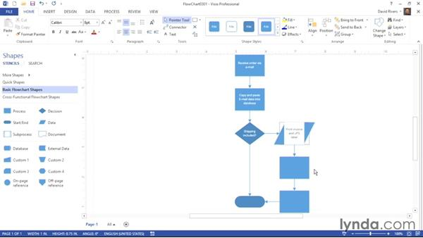 Inserting text-related objects: Visio 2013 Essential Training