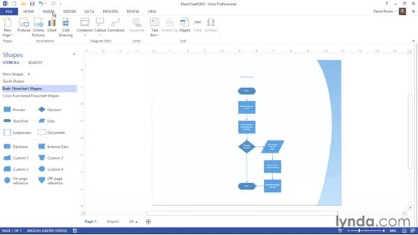 Inserting foreground and background pages: Visio 2013 Essential Training