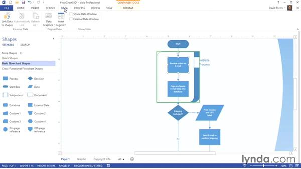 Inserting containers and callouts: Visio 2013 Essential Training