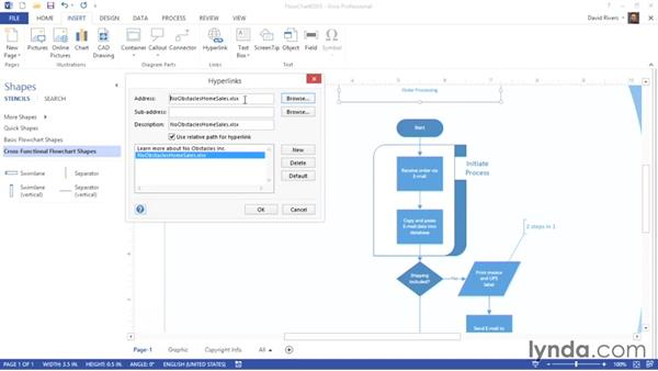 Inserting hyperlinks: Visio 2013 Essential Training