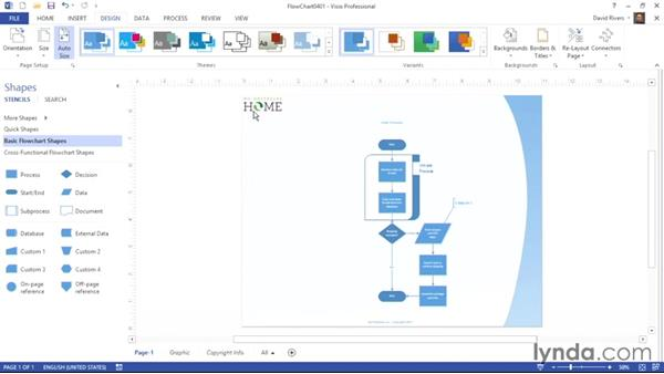 Using themes: Visio 2013 Essential Training