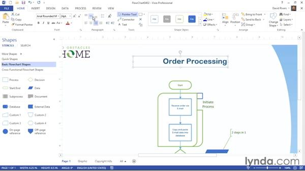 Formatting text: Visio 2013 Essential Training