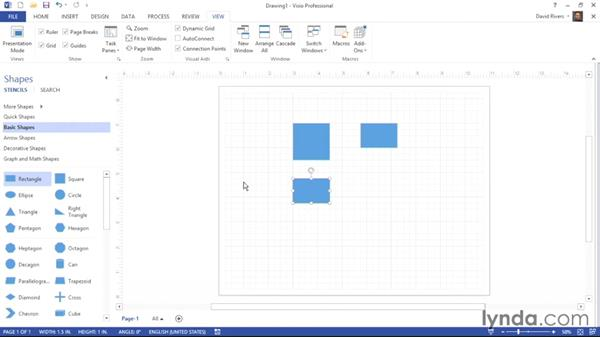 Showing and hiding layout aids: Visio 2013 Essential Training