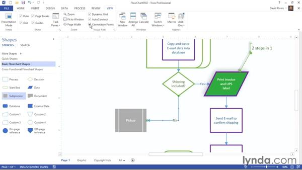 Using visual aids and snap and glue settings: Visio 2013 Essential Training
