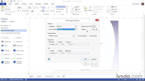 Saving diagrams as .jpg or .gif files: Visio 2013 Essential Training