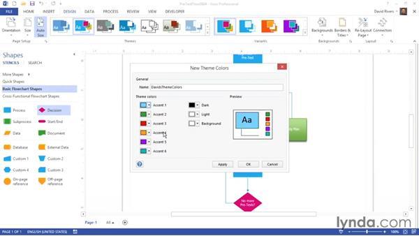Creating custom theme colors: Visio 2013 Essential Training