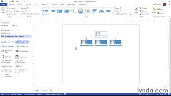 Adding manager subshapes: Visio 2013 Essential Training