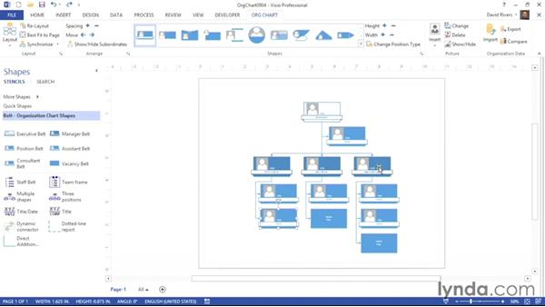 Defining alternate layouts for subordinates: Visio 2013 Essential Training