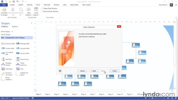 Relinking to organizational data after it changes: Visio 2013 Essential Training