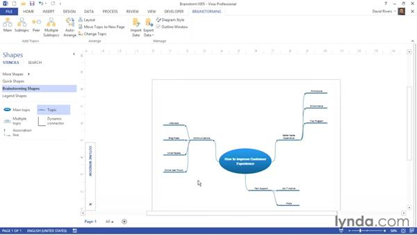 Editing topics in the Outline Window: Visio 2013 Essential Training