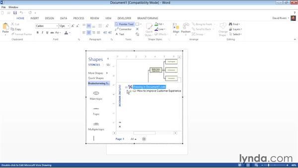 Sending data to Microsoft Word: Visio 2013 Essential Training