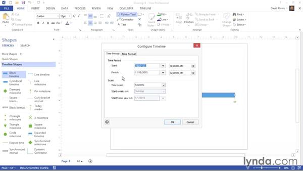 Adding and configuring a timeline shape: Visio 2013 Essential Training