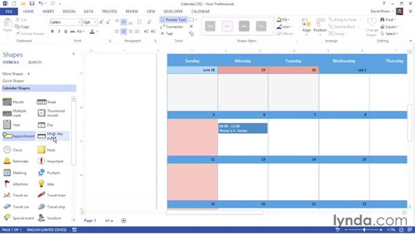 Adding appointments and events: Visio 2013 Essential Training