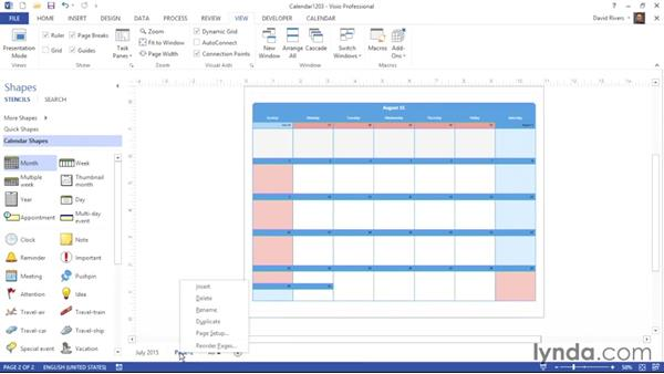 Adding months: Visio 2013 Essential Training