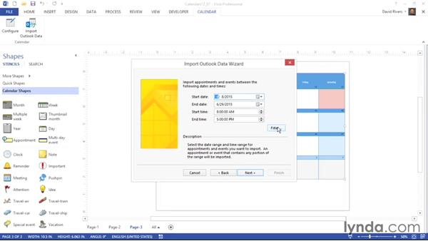 Importing calendar data from Microsoft Outlook: Visio 2013 Essential Training