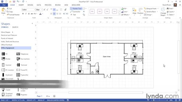 Adding a title and other information: Visio 2013 Essential Training