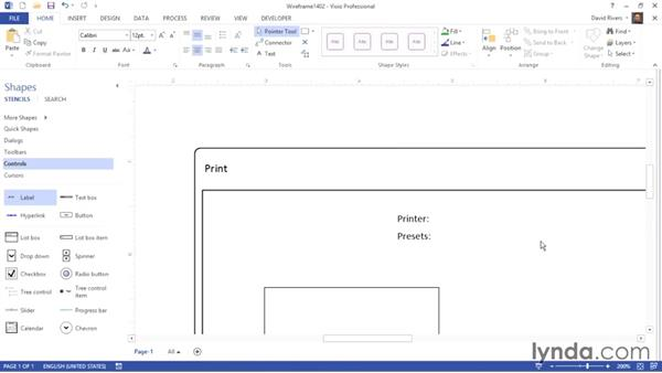 Adding dialog elements and other controls: Visio 2013 Essential Training